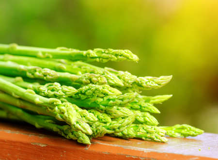 Fresh green asparagus in a garden  photo