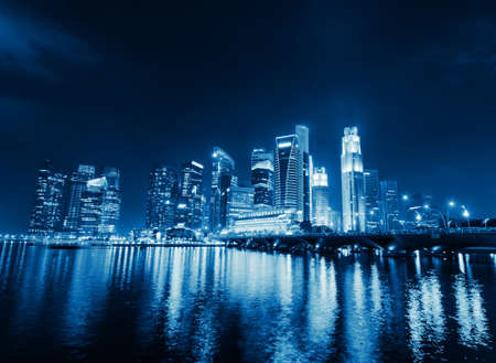 marina: Singapore city skyline at night.