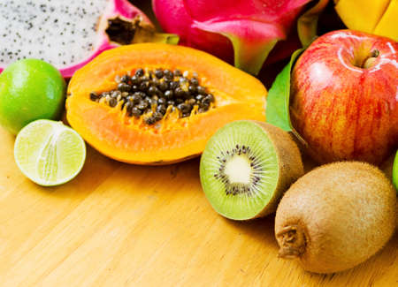 Set of tropical fruits photo