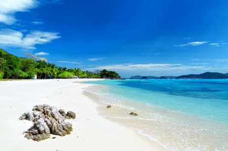 White sand beach. Malcapuya island, Coron, Philippines. photo