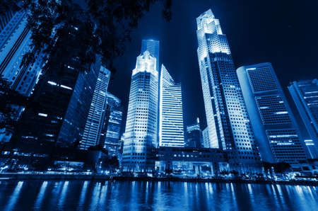 Singapore city skyline at night. Stock Photo - 15249136