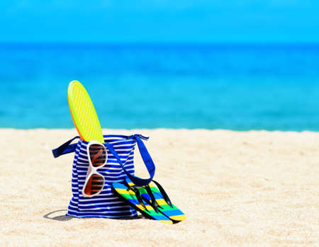 weekend break: Beach accessories. Concept of summer vacations. Stock Photo