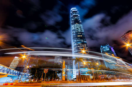 Motion blur of traffic in Hong Kong. photo
