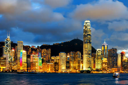 hong kong night: Skyline of Hong Kong at sunset.