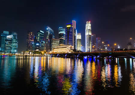 commercial district: Singapore city skyline at night