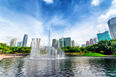 water scape: Downtown of Kuala Lumpur in KLCC district
