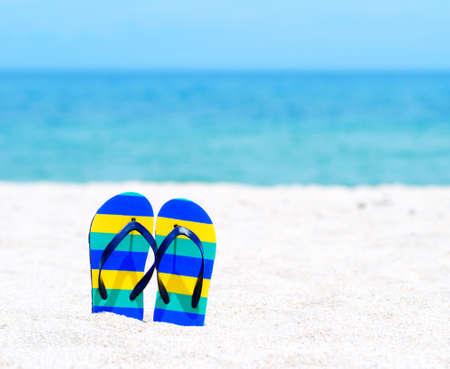 flip flop: Flip flops on a tropical beach.