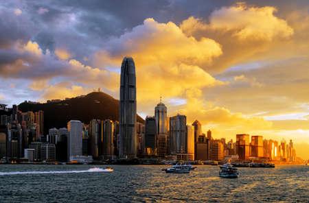 kong: Skyline of Hong Kong at sunset.