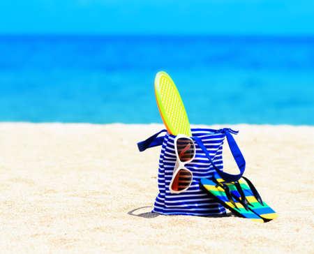 Beach accessori. Concetto di vacanze estive.