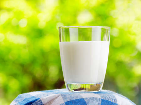 dairy farm: Glass of milk on nature background