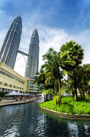 KUALA LUMPUR, MALAYSIA - NOVEMBER 1: View of Petronas Twin Towers on November 1, 2012 in Kuala Lumpur. The skyscrapers were tallest buildings in the world from 1998 to 2004. Currently the Petronas are the tallest twin towers in the world.
