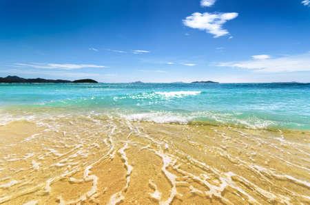 coron: White sand beach and blue sky  Coron, Busuanga island, Palawan province, Philippines