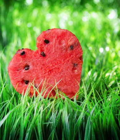 Watermelon heart on green grass. Valentine concept.