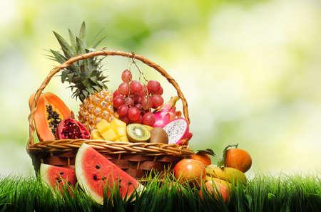 fruitmand: Mand met tropische vruchten op groen gras