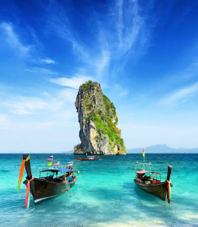 longtail: Clear water and blue sky  Beach in Krabi province, Thailand