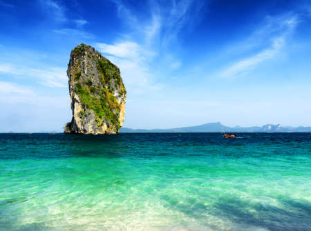 Clear water and blue sky  Beach in Krabi province, Thailand  photo