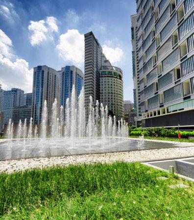 KUALA LUMPUR, MALAYSIA - NOVEMBER 1: View of Petronas Twin Towers and KLCC district on November 1, 2012 in Kuala Lumpur. Stock Photo - 17985877