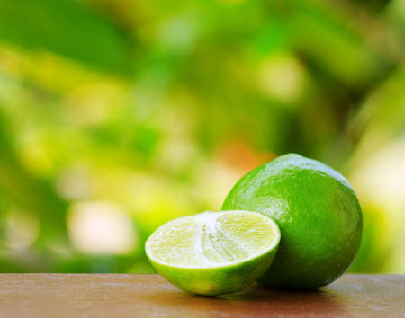 lime juice: Green lime in a garden. Shallow DOF. Stock Photo