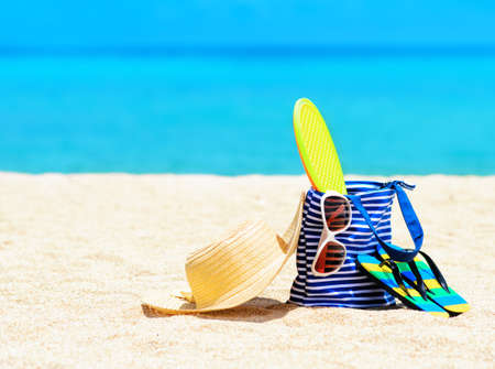 vacation destinations: Beach accessories. Concept of summer vacations. Stock Photo