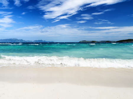 coron: White sand beach and blue sky. Coron, Busuanga island, Palawan province, Philippines.