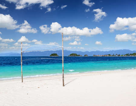 White sand beach and blue sky. photo