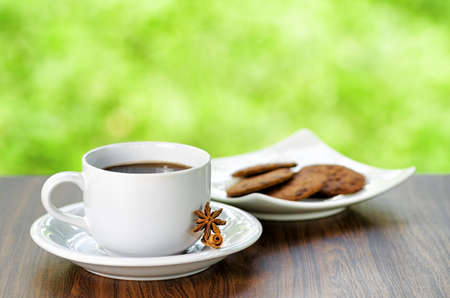 Coffee and oatmeal cookies on nature background. photo