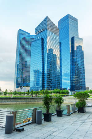 SINGAPORE - NOVEMBER 1: View of skyscrapers in Marina Bay on November 1, 2012 in Singapore. Singapore is the worlds fourth leading financial centre.