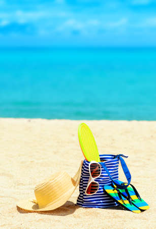 Beach accessories. Concept of summer vacations. Stock Photo