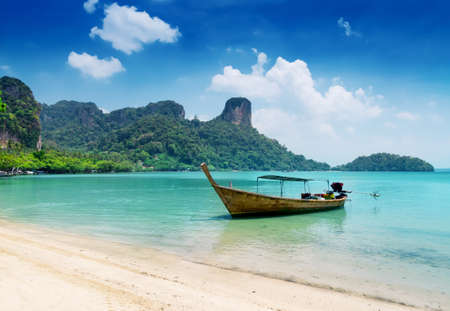 Clear water and blue sky. Beach in Krabi province, Thailand. photo