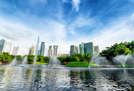 water scape: Downtown of Kuala Lumpur in KLCC district.
