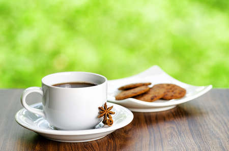 Coffee and oatmeal cookies on nature background  photo