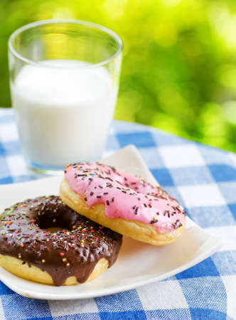 Fresh donuts and glass of milk on nature background  photo
