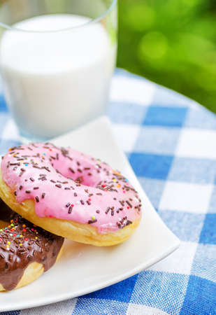 Fresh donuts and glass of milk on nature background. photo