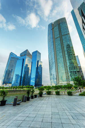commercial district: View of skyscrapers in Marina Bay in Singapore  Stock Photo