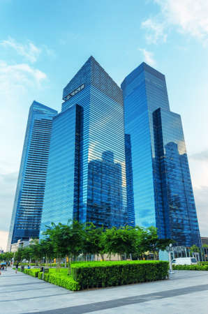 View of skyscrapers in Marina Bay in Singapore