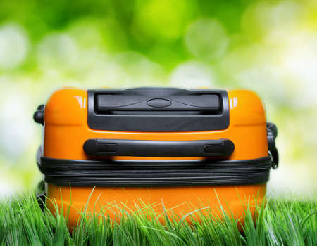 Orange suitcase in green grass on natural background  photo