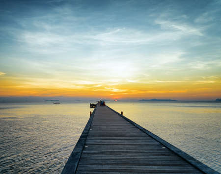 Boat pier at sunset. Beautiful landscape. photo