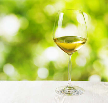 Glass of wine on nature background  photo