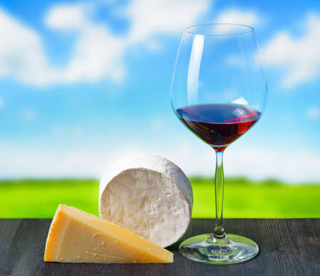 Cheese and glass of wine on nature background  photo