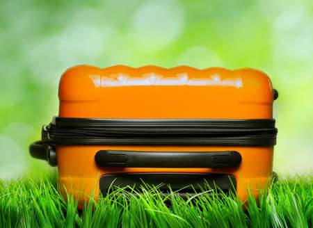 Orange suitcase in green grass on natural background. photo