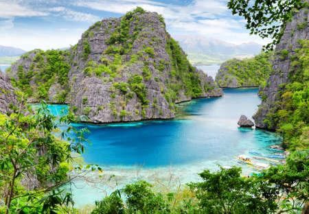 Tropische kust. Coron, Busuanga eiland, provincie Palawan, Filipijnen. Stockfoto