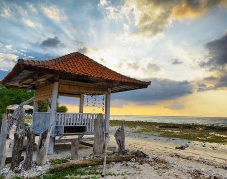 pavillion: Traditional pavillion on sunset beach.