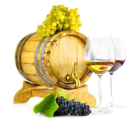 aligote: Red and white wine on white background. Stock Photo