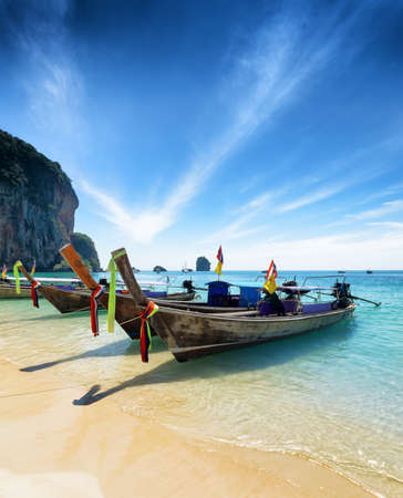 phra nang: Thai boats on Phra Nang beach, Thailand. Stock Photo