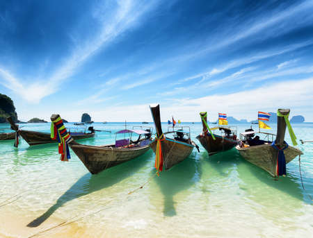 phra nang: Thai boats on Phra Nang beach, Thailand. Stock Photo
