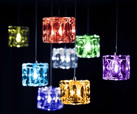 lamp shade: Closeup view of contemporary light fixture.