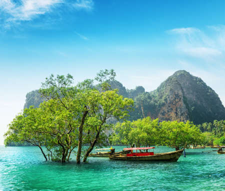 phra nang: Boats on Railay beach, Thailand