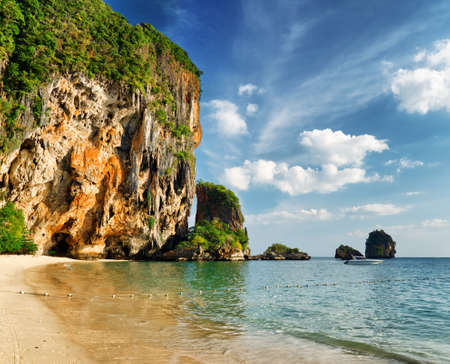 phra nang: Clear water and blue sky  Phra Nang beach, Thailand  Stock Photo