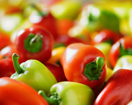 Fresh sweet peppers. Vegetable background.