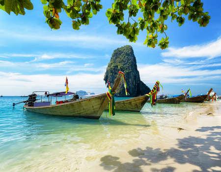 nang: Thai boats on Phra Nang beach, Thailand. Stock Photo